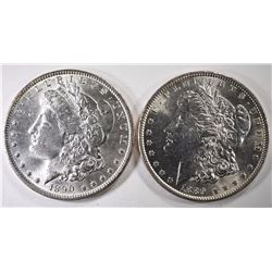1889 & 1890 CHOICE BU MORGAN SILVER DOLLARS