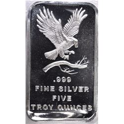 FIVE OUNCE .999 SILVER BAR, EAGLE