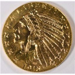 1915 $5.00 GOLD INDIAN, CHOICE BU