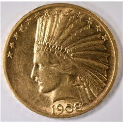 1908 MOTTO $10.00 GOLD INDIAN, AU/BU