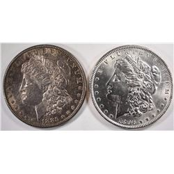 1885 & 1896  CHOICE BU MORGAN SILVER DOLLARS