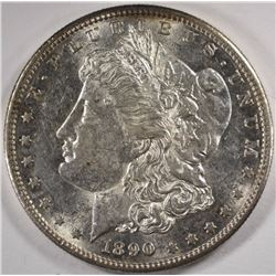 1890-S MORGAN SILVER DOLLAR, CHOICE BU
