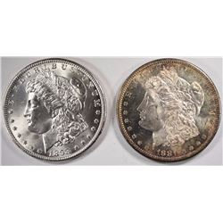 1881-S & 1898-O CHOICE BU MORGAN SILVER DOLLARS