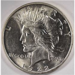 1922-D PEACE SILVER DOLLAR, CHOICE BU
