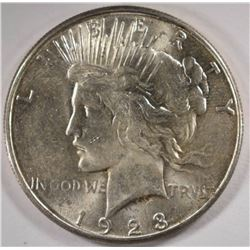 1923-S PEACE SILVER DOLLAR, CHOICE BU+