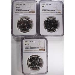 1965, 66 & 67 SMS KENNEDY HALF DOLLARS NGC MS 67