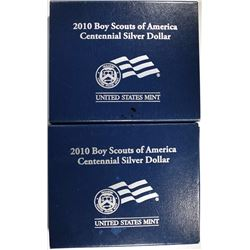 2-2010 UNC BOY SCOUTS COMMEMORATIVE SILVER DOLLARS IN ORIGINAL BOXES/COA