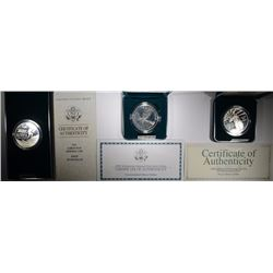 3 - SILVER PROOF DOLLARS - 1991 KOREAN, 1996 COMMUNITY SERVICE, 1999 YELLOWSTONE