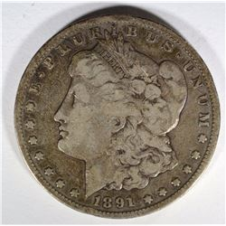 1891-CC MORGAN DOLLAR FINE SMALL RIM BUMP