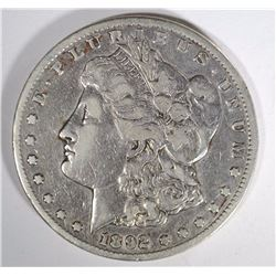 1892-CC MORGAN SILVER DOLLAR VF  KEY COIN