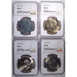 4 - IKE DOLLARS NGC MS65;  2-1977,  2-1977 D
