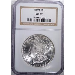 1880-S MORGAN SILVER DOLLAR NGC MS 67  BLAST WHITE