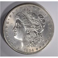 1894-S MORGAN SILVER DOLLAR CH BU+  KEY COIN