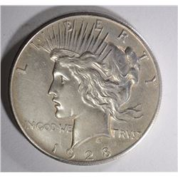 1928 PEACE SILVER DOLLAR AU  KEY COIN