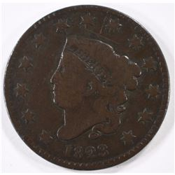 1823 LARGE CENT, VG scratches obverse  KEY DATE