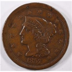 1857 LARGE CENT, XF  KEY DATE some rim issues on obverse