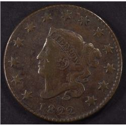 1822 LARGE CENT, VF  BETTER DATE