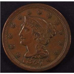 1847 LARGE CENT, XF  BETTER DATE