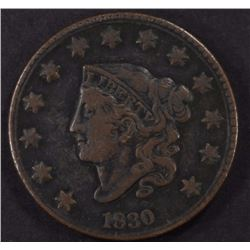 1830 LARGE CENT, F/VF BETTER DATE