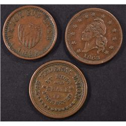 ( 3 ) PATRIOTIC CIVIL WAR TOKENS