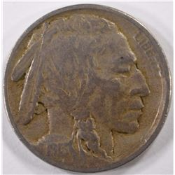 1913-D TYPE-2 BUFFALO NICKEL, VF KEY DATE