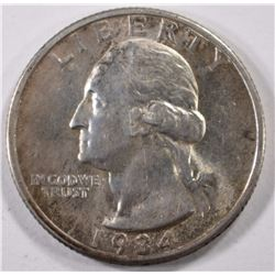 1934-D WASHINGTON QUARTER, AU