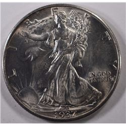1937-D WALKING LIBERTY HALF DOLLAR, GEM BU  BETTER DATE!!