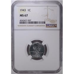 1943 STEEL LINCOLN CENT NGC MS-67