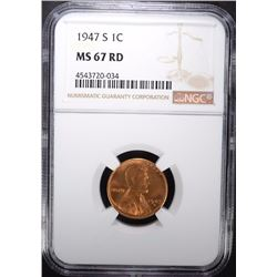 1947-S LINCOLN CENT NGC MS-67 RD