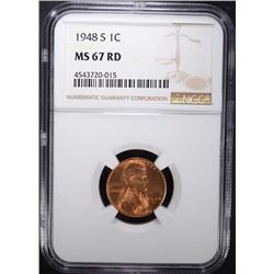 1948-S LINCOLN CENT NGC MS-67 RD