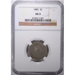 1885 LIBERTY NICKEL, NGC AG-3