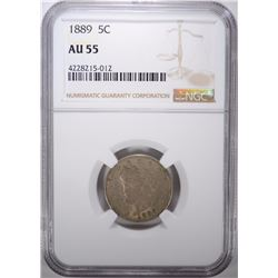 1889 LIBERTY NICKEL, NGC AU-55