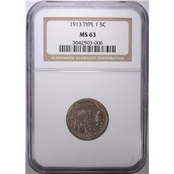 1913 TYPE-1 BUFFALO NICKEL, NGC MS-63