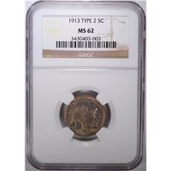 1913 TYPE-2 BUFFALO NICKEL, NGC MS-62