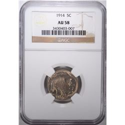 1914 BUFFALO NICKEL, NGC AU-58