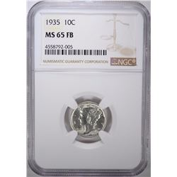 1935 MERCURY DIME, NGC MS-65 FULL BANDS