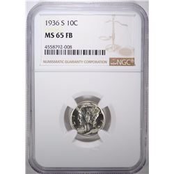 1936-S MERCURY DIME, NGC MS-65 FULL BANDS