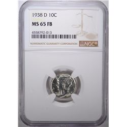 1938-D MERCURY DIME, NGC MS-65 FULL BANDS