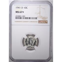 1941-D MERCURY DIME, NGC MS-67+