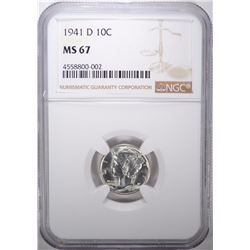 1941-D MERCURY DIME, NGC MS-67