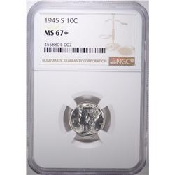 1945-S MERCURY DIME, NGC MS-67+