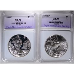 1999 DOLLEY MADISON SILVER $1 PERFECT GEM PROOF & UNC -  2 COIN SET