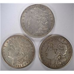 1921 2-D & 1-S MORGAN SILVER DOLLARS - NICE CIRC or BETTER