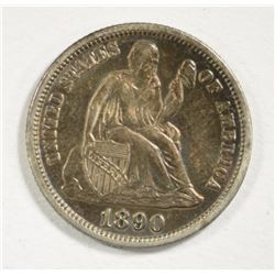 1890 SEATED LIBERTY DIME AU/BU TONED