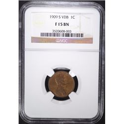 1909-S VDB LINCOLN CENT, NGC FINE-15 BN