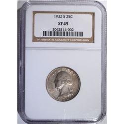 1932-S WASHINGTON QUARTER, NGC XF-45