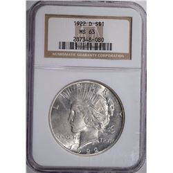 1922-D PEACE SILVER DOLLAR, NGC MS-63