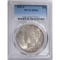 1925-S PEACE SILVER DOLLAR, PCGS MS-62