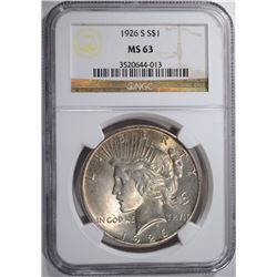 1926-S PEACE SILVER DOLLAR, NGC MS-63