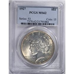 1927 PEACE SILVER DOLLAR, PCGS MS-62